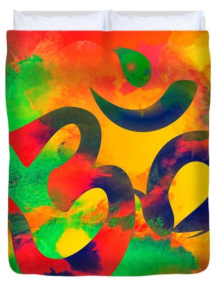 Om Symbol, Green, Yellow And Orange Multicolor Duvet Cover
