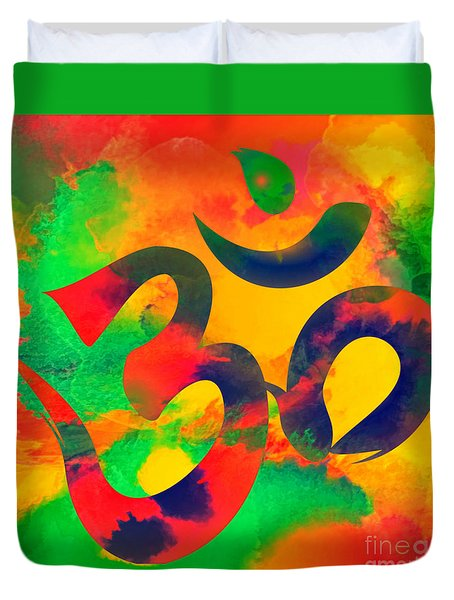 Om Symbol, Green, Yellow And Orange Multicolor Duvet Cover