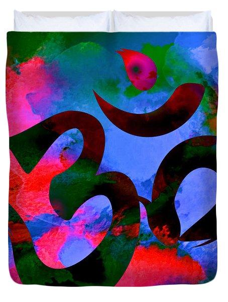 Om Symbol, Hot Pink And Blue Duvet Cover
