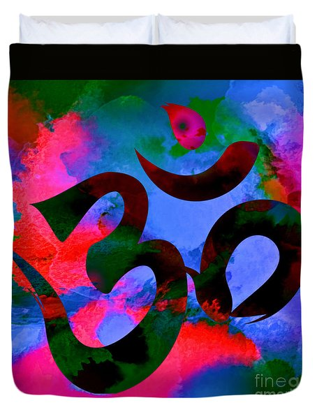Om Symbol, Hot Pink And Blue Duvet Cover