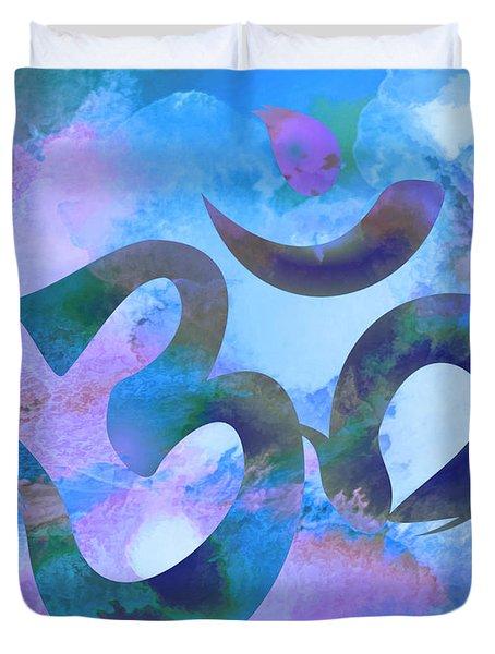 Om Symbol, Light Blue And Purple Pastel Duvet Cover