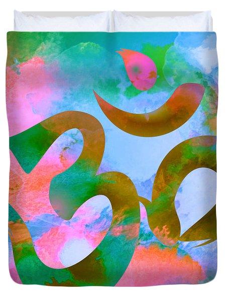 Om Symbol, Pastel Pink,blue And Green Duvet Cover