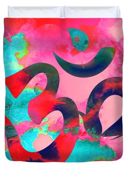 Om Symbol, Pink And Blue Duvet Cover