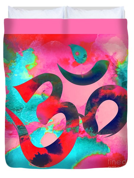 Om Symbol, Pink And Blue Duvet Cover