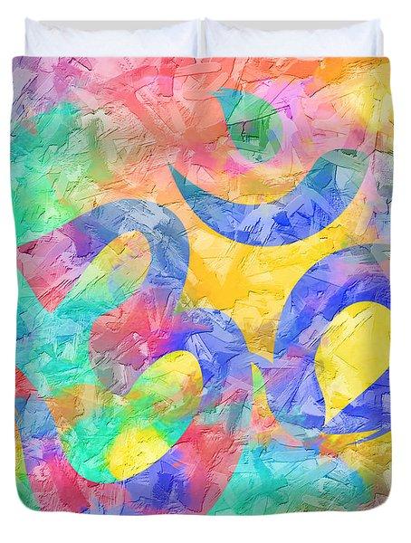 Om Symbol Rainbow Pastels 3d Duvet Cover