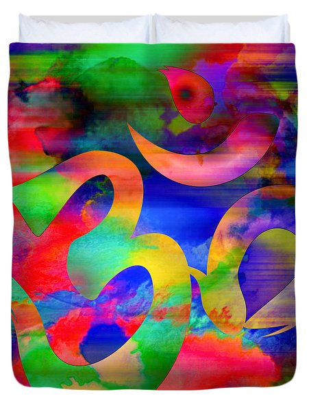 Om Symbol, Rainbow, Ver4 Duvet Cover