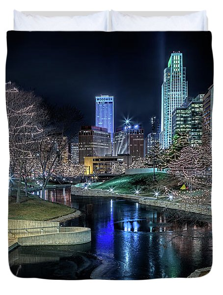 Omaha Holiday Lights Festival Duvet Cover