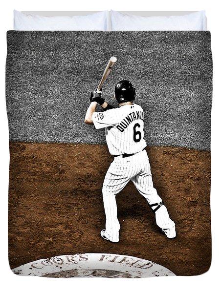 Omar Quintanilla Pro Baseball Player Duvet Cover by Marilyn Hunt