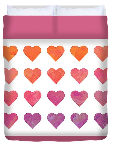 Ombre Hearts Duvet Cover