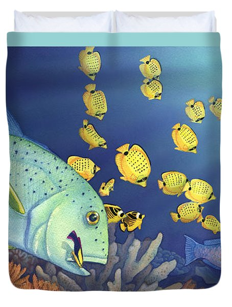 Omilu Bluefin Trevally Duvet Cover by Tammy Yee