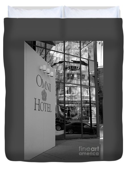 Duvet Cover featuring the photograph Omni Reflection In Black And White by Shelia Kempf