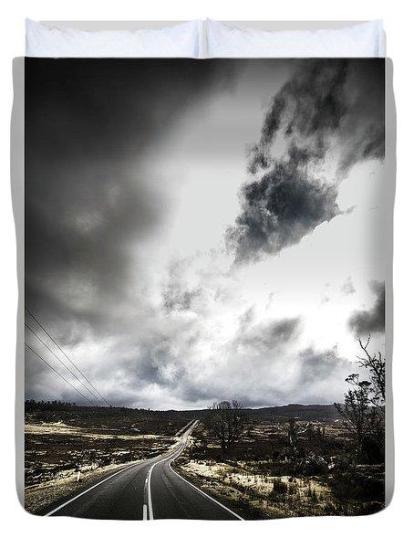 On A Dark Deserted Highway Duvet Cover