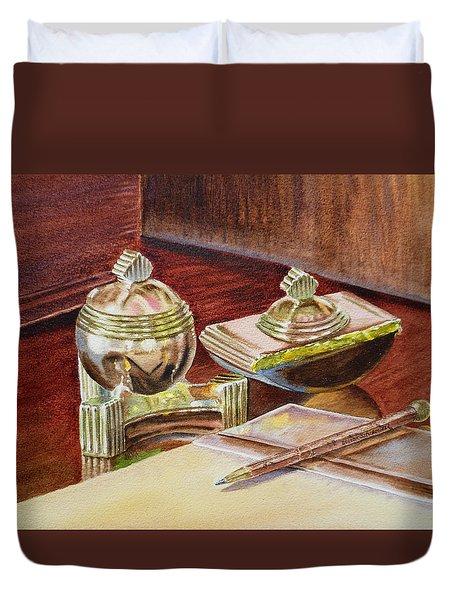 On A Desk At Eugene O Neill Tao House Duvet Cover by Irina Sztukowski