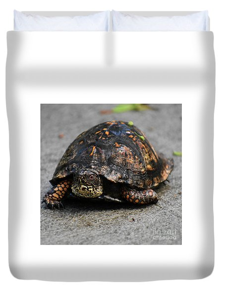 Duvet Cover featuring the photograph On A Mission by Skip Willits