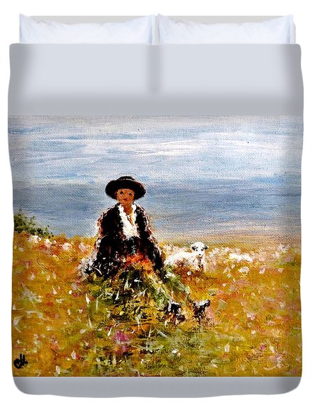 Duvet Cover featuring the painting On A Peak.. by Cristina Mihailescu