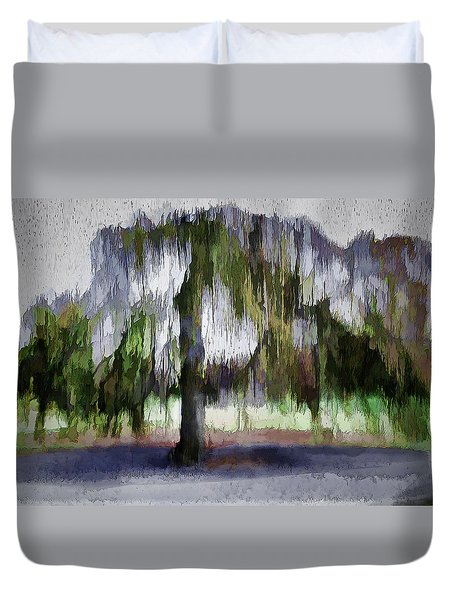 On A Rainy Day In Boston Duvet Cover
