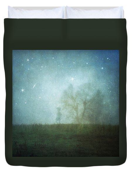 On A Starry Night, A Boy And His Tree Duvet Cover
