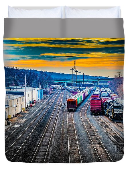On A Suffern Railroad Track Duvet Cover