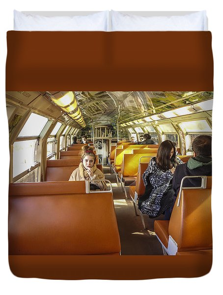On A Train Duvet Cover
