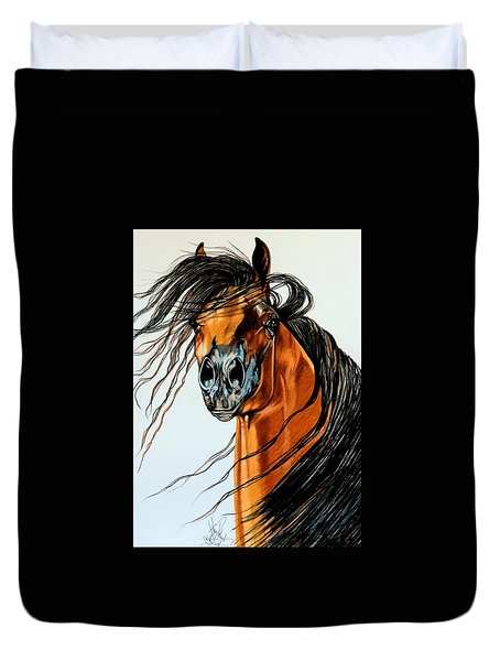 On A Windy Day-dream Horse Series #2003 Duvet Cover by Cheryl Poland