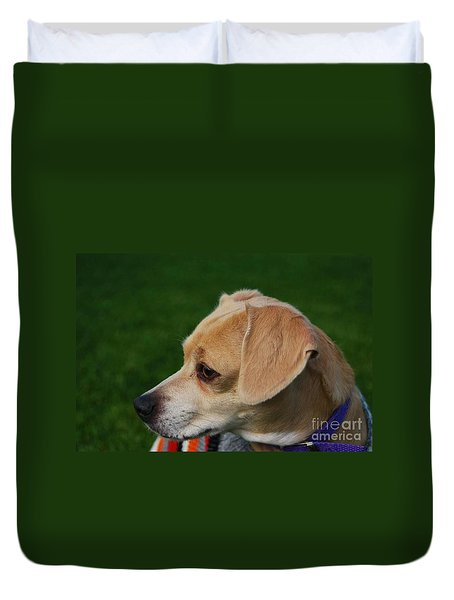 Duvet Cover featuring the photograph On Alert by Angela J Wright