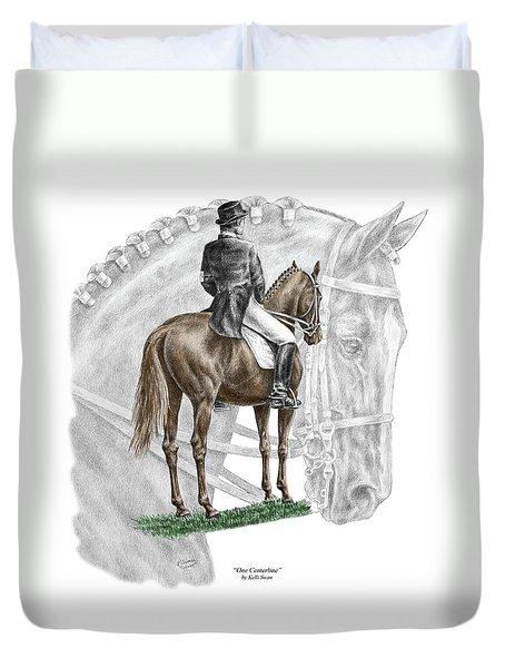 On Centerline - Dressage Horse Print Color Tinted Duvet Cover by Kelli Swan