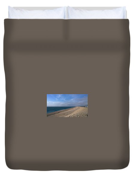 Duvet Cover featuring the photograph On Chesil Beach by Anne Kotan