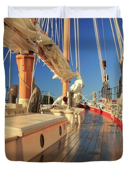 On Deck Of The Schooner Eastwind Duvet Cover by Roupen  Baker