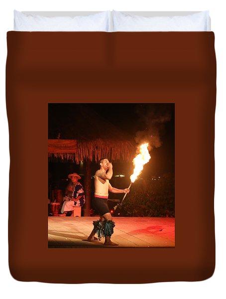On Fire In Tahiti Duvet Cover