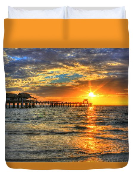 Duvet Cover featuring the digital art On Fire by Sharon Batdorf