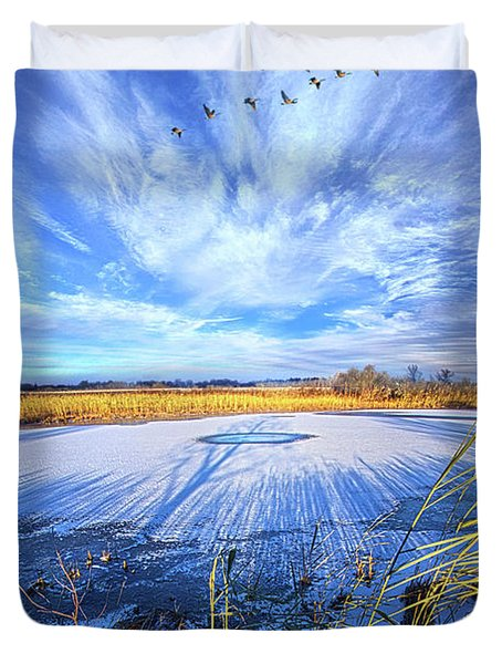 Duvet Cover featuring the photograph On Frozen Pond by Phil Koch