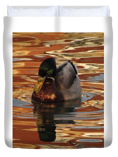Duvet Cover featuring the photograph On Golden Pond by Jennifer Wheatley Wolf