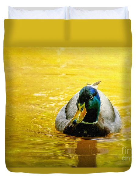On Golden Pond Duvet Cover by Lois Bryan