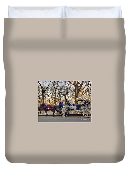 On My Bucket List Central Park Carriage Ride Duvet Cover
