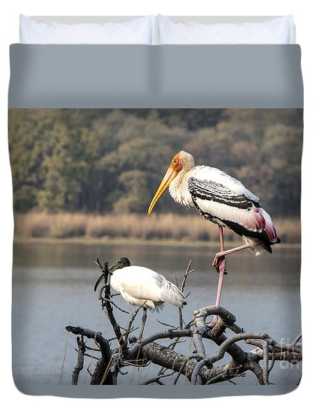 On One Leg Duvet Cover