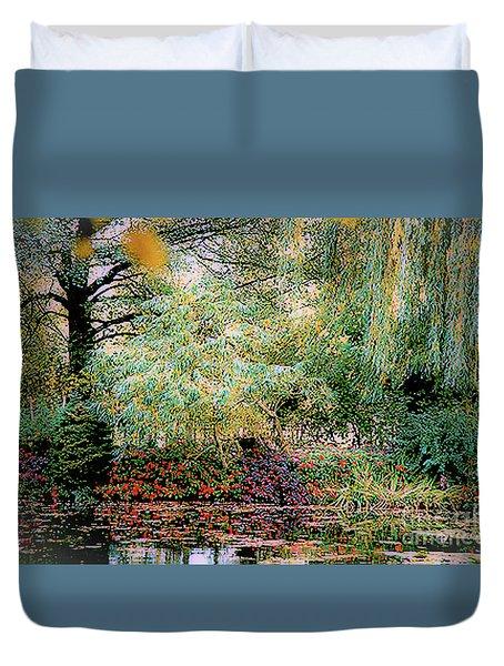 Duvet Cover featuring the photograph Reflection On, Oscar - Claude Monet's Garden Pond by D Davila