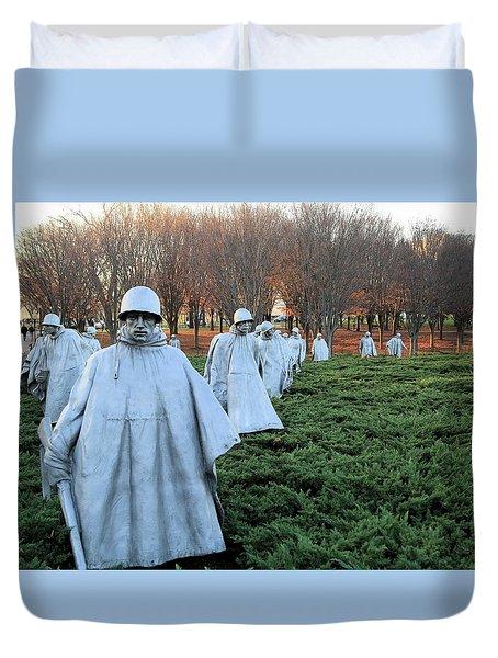 On Patrol The Korean War Memorial Duvet Cover