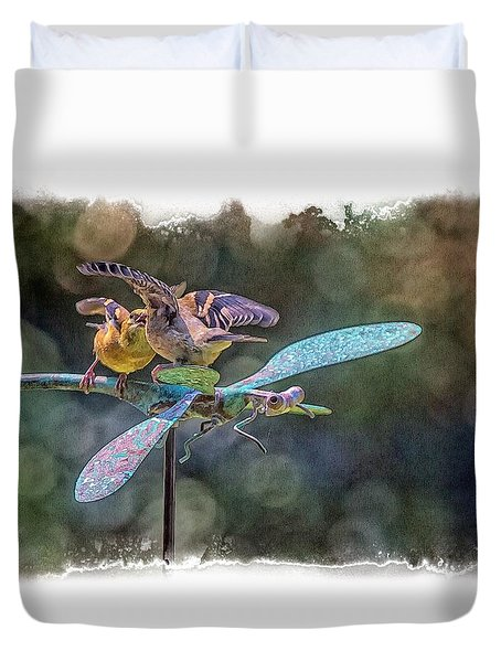 On The Back Of A Dragonfly Duvet Cover by Constantine Gregory