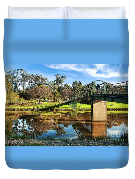 Duvet Cover featuring the photograph On The Banks Of The River By Kaye Menner by Kaye Menner