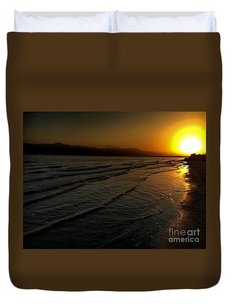 On The Banks Of The Salton Sea Duvet Cover by Chris Tarpening