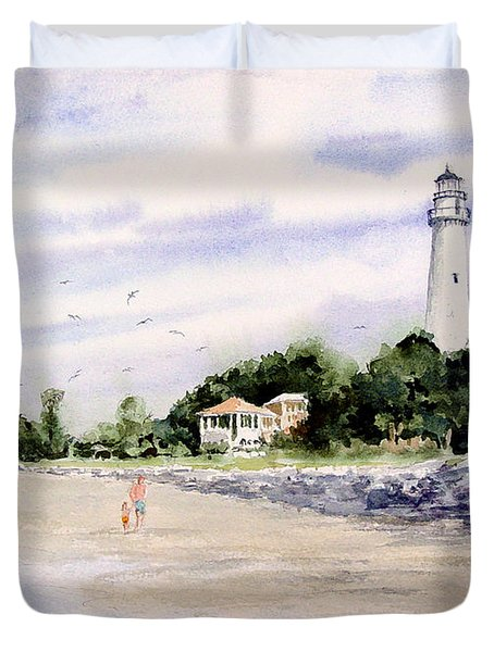 On The Beach At St. Simon's Island Duvet Cover