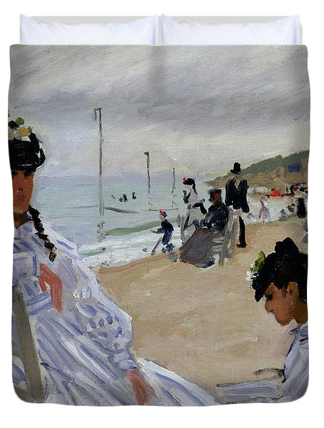 On The Beach At Trouville Duvet Cover