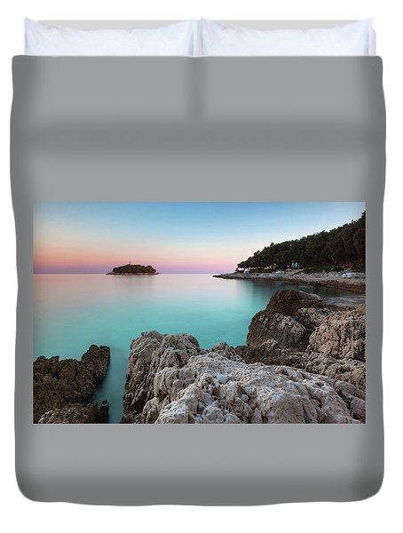 Duvet Cover featuring the photograph On The Beach In Dawn by Davor Zerjav