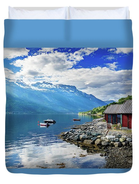 Duvet Cover featuring the photograph On The Beach Of Sorfjorden by Dmytro Korol