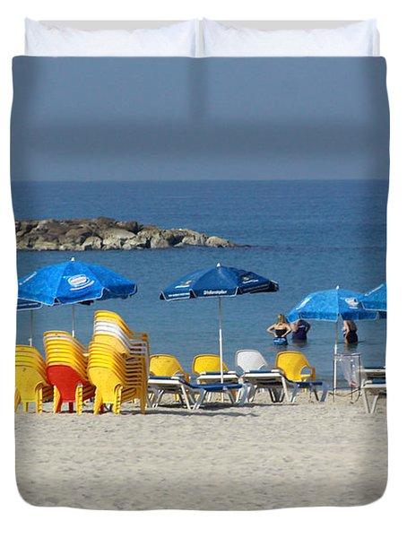 On The Beach-tel Aviv Duvet Cover