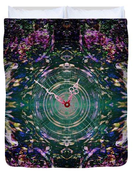 On The Clock Of Rose Garden Duvet Cover