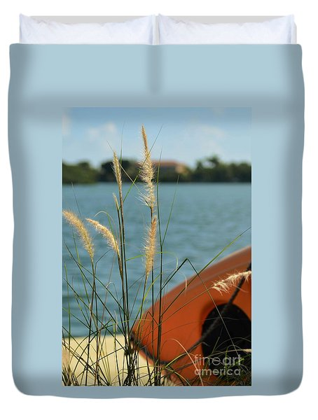 Duvet Cover featuring the photograph On The Dock by Pamela Blizzard