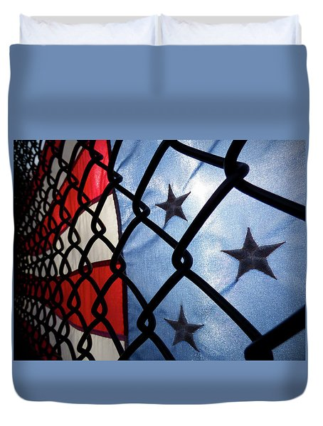 Duvet Cover featuring the photograph On The Fence by Robert Geary