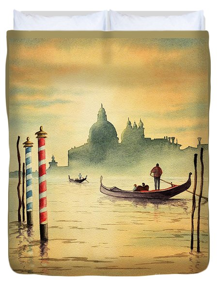 On The Grand Canal Venice Italy Duvet Cover by Bill Holkham