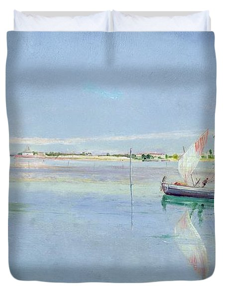 On The Lagoon Duvet Cover by John William Inchbold